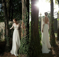 Cheap 2014 A-line Backless Wedding Dresses Sheer Long Sleeves Applique Ribbon Wow Chiffon Lace Berta Bridal Winter Bridal Gowns