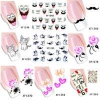 nail tattoo sticker - 60 sheets Beauty Water Transfer Printing Nail Art Stickers Decals DIY Foils Polish Temporary Tattoos Watermark XF1241 XF1298