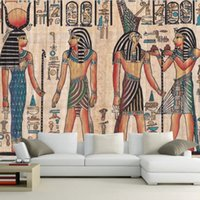 Wholesale Custom Mural Wallpaper Egypt Retro Pattern TV Background Wallpaper KTV Hotel Abstract Mural People Oil Painting Wall Paper