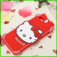 rhinestone cell phone cover - For Iphone5 Cell Phone Cases D Cartoon Iphone plus Cute Hello kitty Diamond Soft Silicone Mobile Cells Case Lovely Animal Stereo Cover