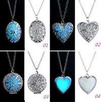 glass jewelry box - 2015 Glow Necklace Heart shaped Hollow Flower Pendant Necklace Charms Glowing In The Dark Jewelry Box Necklace Fashion Novelty Gifts