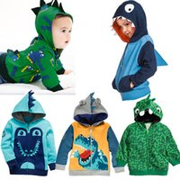 Wholesale Europe Baby Boys Hoodies Jacket Lovely Crocodile Print Fleece Children Clothing Kids Warm Wind Coat Kid Outdoor Jacket Outerwear Clothes