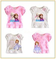 baby girl tees - New Kids Clothes Ice Frozen Elsa Babies Clothing Girl s T shirt Short Sleeve Round Neck Summer Tee Top cm WJN04