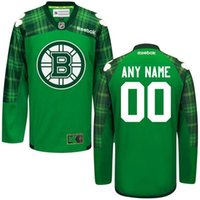 Wholesale 2016 Men s Boston Bruins Your Name And number Green St Patrick s Day Jersey Personalized Customized Ice Hockey Jers