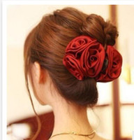 Wholesale Korean Beauty Ribbon Rose Flower Bow Jaw Clip Barrette Hair Claws for Women Headwear Hair Accessories