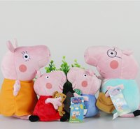 Wholesale 4 Children Gift Sets Peppa Pig Family Plush Toys Pepe George Peppa Pig Mom and Dad Stuffed Animals Christmas Gift Sets for Kids