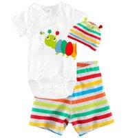 Vêtements de bébé animal de girafe à manches courtes Romper Hat Pant 3PCS Set For Baby Boy Summer Girl Vêtements bébé Roupa De Bebe