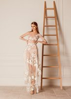al dress - Sexy Sheer Evening Dresses With Long Sleeves Hamda Al Fahim Jewel Neck Floor Length Tiered Prom Gowns Tulle Illusion Evening Dress