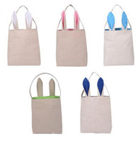 Wholesale Free DHL Fashion Cute Cotton And Linen Easter Bunny Ears Basket Bag For Easter Gift Packing Easter Handbag For Child Fine Festival Gift G11