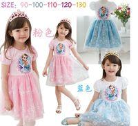 Cheap Children summer skirt round collar girls dress girls hd cartoon sweet princess Snow White gauze colors dress skirt