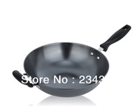 Cheap non-stick cookware wok without coating without fume really stainless wok iron wok electromagnetic furnace gas furnace 34cm