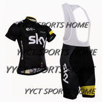 Wholesale yellow sky New Arrival Cycling Jersey Set Short SleeveCycling Clothes With Cycling Jersey Padded Bib None Bib