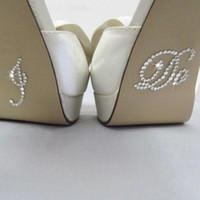 al por mayor zapatos clara-2016 Plata De Cristal De La Boda Zapatos Pegatinas DIY Nupcial Sandal Bottom Pegatinas Accesorios Nupciales Yo Hacer O Yo También Zapatos Pegatinas Rhinestone Claro