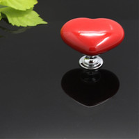 Wholesale MMX37MM Colored Heart Shape Ceramic Rose Knobs for Kids Children Cabinets Door Knobs and Pulls Y60 JJ1050 M5