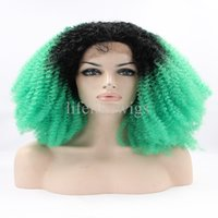 Wholesale Newest Kinky Curly Medium Length Ombre Color Synthetic Hair Glueless Lace Front Price Wigs