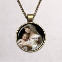 alloy nativity - Glass Dome bohemian nativity pendant virgin mary jesus and lamb glass religious pendant necklace fashion jewelry