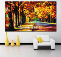 alley pictures - Palette Knife Oil Paintings Fall Forest Magic Alley Landscape Picture Mural Art Printed on Canvas for Home Office Hotel Wall Decor