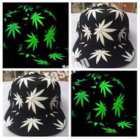 Wholesale 2016 Weed Baseball Hat Glow In The Dark Cap Luminous Night Glow Hip hop Rasta Weed Leaf Pot Flat Bill Snapback Baseball Cap pc
