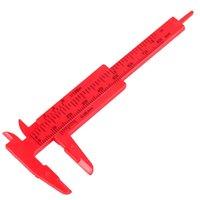 Wholesale Red mm Mini Plastic Sliding Vernier Caliper Gauge Measure Tool Ruler New Hot Sale T1270 W0
