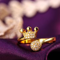 american coupling - 24KGold And Silve Ring Crown Women Girl With Jewelry Ring Rhinestone Opening Couple Rings Gold plated Copper In Europe And America Hot Sales
