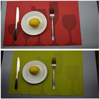 pvc printed placemats - 1 pvc cup print placemat in mats pads red green mats for dinner fastness placemats in home kitchen cm