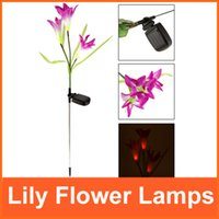 batteries for solar landscape lights - Color Changing LED Lily Flower Lamps for Garden House Decoration Outdoor Landscape Light Powerfrugal Solar Power AAA Battery