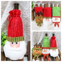 Wholesale Lovely Santa Clause Dress Merry Christmas Table Decoration Snowman Red Wine Bottle Cover Bags Gift Wrap Deer Party Decor Red Style