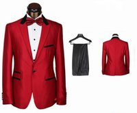 Wholesale 2015 New Arrival Red Slim Fitted Men s Formal Wear Suit Groom Wedding Suit For Men Pieces Include jacket pants bow tie SKU337