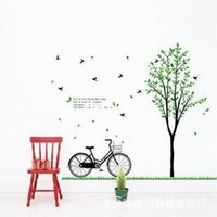 bicycle wallpaper - wall stickers home decor Removable wall stickers bedroom wall stickers living room sofa backdrop wallpaper green bicycle DM57 sided