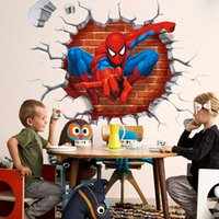 Wholesale 45 D Cartoon spiderman wall stickers Removable PVC Home decals decorative Living room Wall Art Sticker Children bedrooms Wallpaper