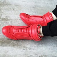 men high top shoes - 2015 New kanyewest Maison Martin Margiela MMM all red high top men s fashion casual shoes