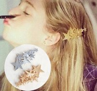 Wholesale 2014 latest fashion popular trendy Gold Silver Alloy Stars Top Hairgrips Hair clip accessories Jewelry for women