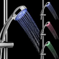 chrome green - LED Rain Shower Head Heat Sensitive Hand Shower Set Green Blue Red Color Gradual Change with ABS PC Material Chrome Coating