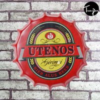 Wholesale 35 cm Round home wall decor metal posters print crafts decoration Tin signs retro painting Beer wine bottle