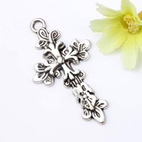 Charms beautiful tone - 25x47 mm Antiqued Silver Tone Beautiful Flower Cross Knot Infinity Cross Charms Pendants Fashion DIY Jewelry L442