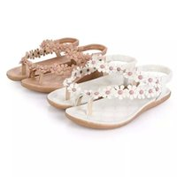 pvc sandals - 2015 Time limited White Beige Flat Heel Pu Pvc Us4 Us4 Us5 Bohemian Thong Sandals Shoes Pinches Summer Women New Beads Flowers Girl Fat