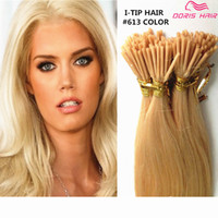 Wholesale 7A GRADE Double Drawn Human Remy Silky Straight Blonde Keratin Stick I Tip Pre Bonded Micro Fusion Hair Extension Salon Supply Tangling Free