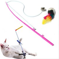 Wholesale Pet cat toy Cute Design Steel Wire Feather Teaser Wand Plastic Toy for cats Color Multi Products For pet