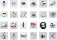 Cheap Wholesale 30pcs lot mix designs floating locket charms beads for glass floating living locket