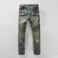 Wholesale Balmain Men Jeans NWT BP Men s Fashion Runway Biker Slim Stratch Washed Denim Jeans Size