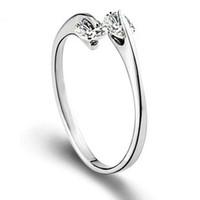 Envío libre 925 telesthesia anillo de plata de doble cristal de diseño abierto sencilla mujer de los anillos de bodas de la joyería EH128