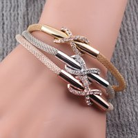 Wholesale NEW Magnetic Clasp Fashion Women Multilayer Snake Chain Bracelet Crystal Infinity Bracelet Bangles Jewelry B422