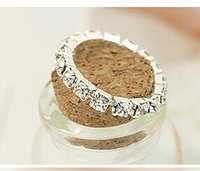 Wholesale New Rhinestone Finger Rings Silver Crystal Toe Ring Elastic Body Jewellery