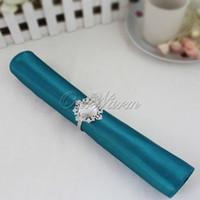 Wholesale 100 Teal Blue quot Square Satin Dinner Napkins or Handkerchiefs Wedding Party Color Table Serviettes NPK