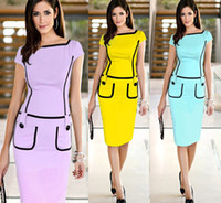Wholesale 2015 Hot Career Ladies Work Dresses Square Neck Slim Patchwork Knee length Formal Party Evening Gowns Women Bodycon Pencil Dresses OXL13179