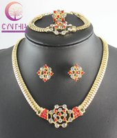 african style jewellery - Fashion Necklace Earrings Bracelet Ring Set African Jewellery Set Flower Style k Gold Plated Crystal Bridal Jewelry Sets Colors WB