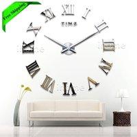 Wholesale Living Room DIY large quartz Acrylic mirror wall clock D Roman numerals design Fashion Art Home Decor stickers wall Watch