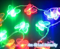aa butterfly - 4m Led Butterfly String LED AA Battery Powered String Fairy Light Christmas Light Strings White Warm White Red Blue Purple RGB Color LED