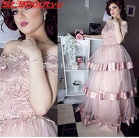 art middle east - Pink Tiered Skirt Long Prom Dresses With Sleeves Ball Gown Off Shoulder Appliques Pink Tulle Vintage Middle East Women Formal Evening Dress