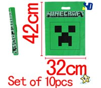 Cheap Minecraft Gift wrapping Bag Party Supplies Minecraft Creeper Tote Bag Birthday Party Candy Bag Poly Gift Bag Handbag 2000 pcs